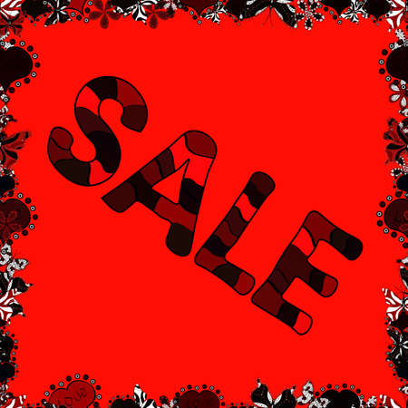 SALE Promotion banner, price tag, discount sticker, badge, poster. Seamless. Vector. VIP SALE starts today promo banner with lettering word SALE. Illustration in brown, black and red colors. 일러스트