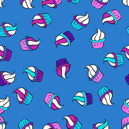 Cute birthday background on white, black and blue. Vector illustration. Seamless pattern with hand drawn doodle desserts: cupcakes, cake, pie, muffins. 일러스트
