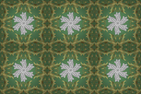Elements with green, neutral and yellow colors. Snowflakes with different ornaments. Raster illustration. Simple Christmas seamless pattern with geometric motifs. Retro textile collection.