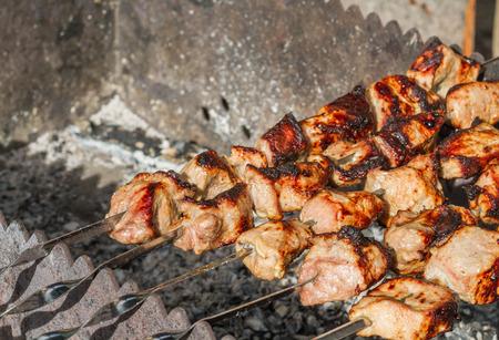 meat skewers: grilled meat, skewers