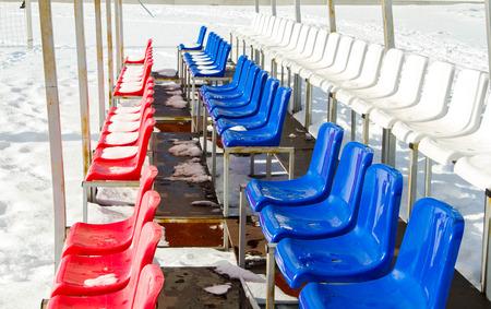 snow break: tribune seat in the stadium