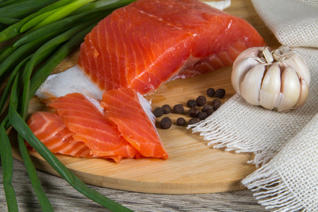 white salmon river: fillet of red fish, salmon, trout Stock Photo