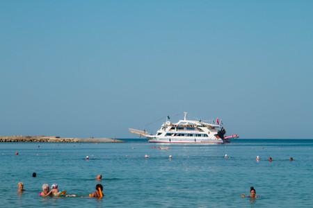 Turkey. Antalya. 16 September 2016 Beach, summer, ship at sea