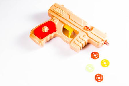 Pistol, toy, childrens, plastic, weapons Stock Photo