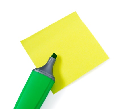 Green Highlighter and Yellow Stikers Isolated on White Background  photo