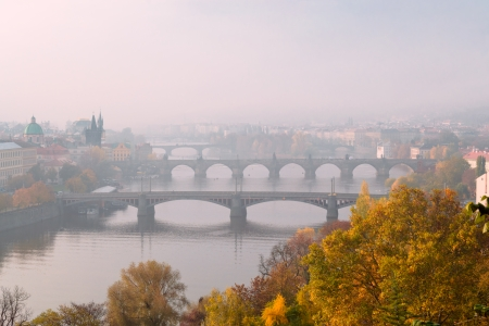 View on Prague bridges on the Vltava River, Czech Republic photo