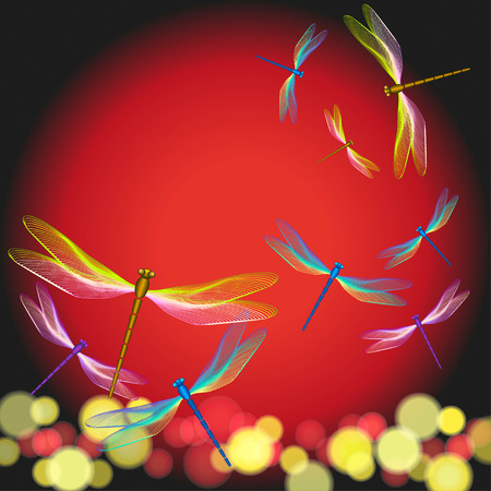 Shining dragonflies flying on sunset. Vector illustration, EPS10 Vector