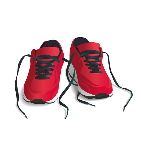Red, Sports Shoes.  EPS 10 vector illustration. High res jpg included.