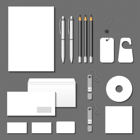 flash memory: Vector corporate identity templates. Cards, letter, envelope, business cards, pencils, pens, tags, usb flash memory. EPS 10
