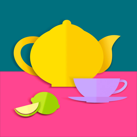 res: Card with paper teapot, cup and lemon. Vector illustration, EPS. High res jpg included.