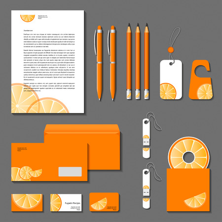 guideline: Orange corporate identity. Vector company style for brandbook and guideline.