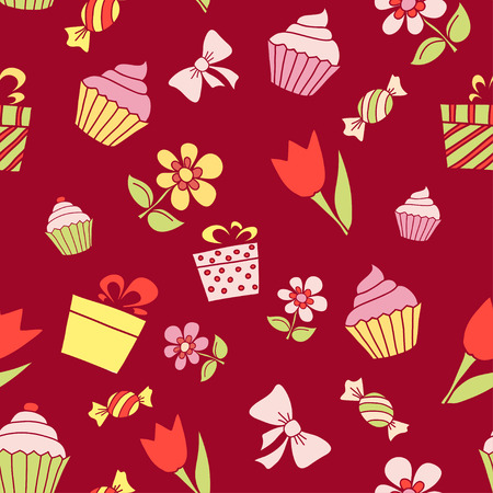 maroon: Hand drawn holiday items, seamless pattern on maroon background.  Illustration
