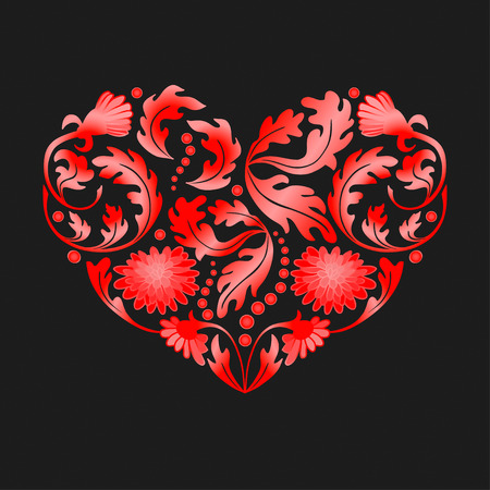 fillings: Hand drawn floral items in a shape of heart on black background. vector illustration. High res jpg included.