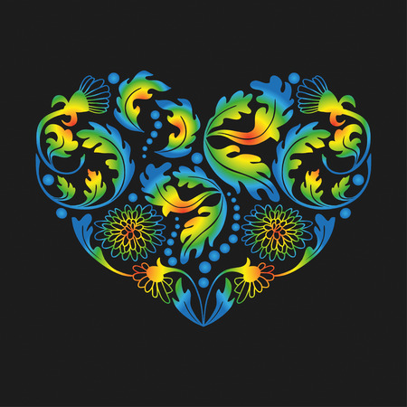 fillings: Hand drawn multicolored floral items in a shape of heart on black background. Illustration