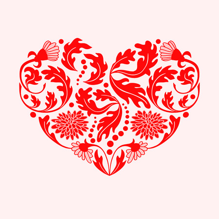 fillings: Hand drawn red floral items in a shape of heart on white background.