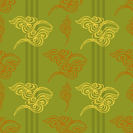 tracery: Hand drawn wave tracery green background, seamless pattern. Vector illustration