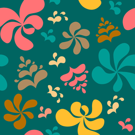 res: Abstract colorful floral seamless pattern on green background. Vector illustration, EPS8. Hihg res jpg included.