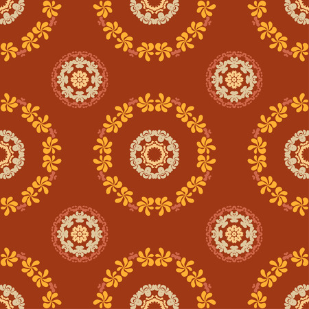 res: Ornate seamless floral pattern, decorative vector wallpaper on brown background. Vector illustration, EPS10, high res jpg included. Illustration
