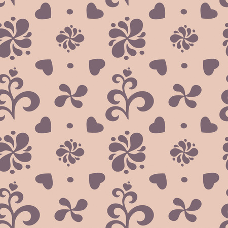 res: Abstract floral seamless pattern on beige background. Vector illustration, EPS8. Hihg res jpg included.