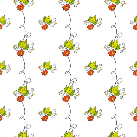 res: Flower seamless pattern on green background. Vector illustration, EPS8. Hihg res jpg included. Illustration