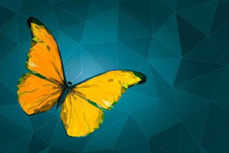 yellow butterfly: Yellow butterfly with polygonal crystal texture on geometric background with triangular polygons, low poly style illustration Illustration