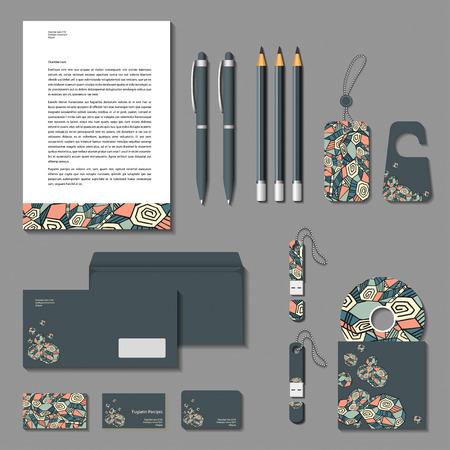 flash memory: Vector corporate identity grey poligonal design. Cards, letter, envelope, business cards, pencils, pens, tags, flash memory. Illustration