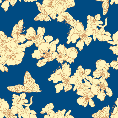 apricot: Seamless background with butterflies and blossom apricot.