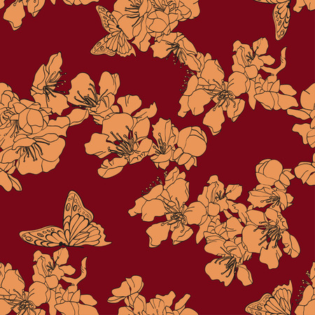 apricot: Seamless background with butterflies and blossom apricot. Illustration