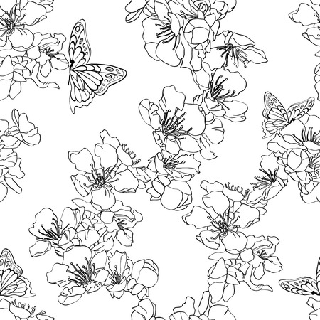 entomology: Monochrome, black and white seamless background with butterflies and blossom apricot.