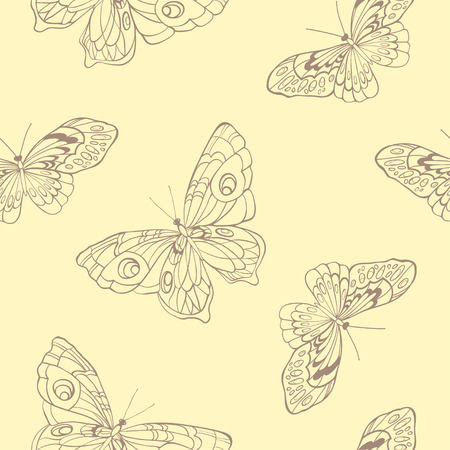 entomological: Seamless background with butterflies on beige background.