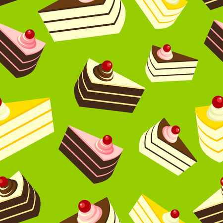 cheesecake: Delicious Cakes on Green Background, Seamless Pattern. Illustration