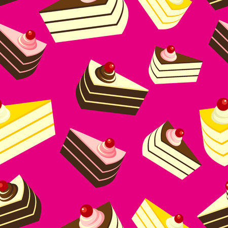 fancy pastry: Delicious Cakes on Pink Background, Seamless Pattern.