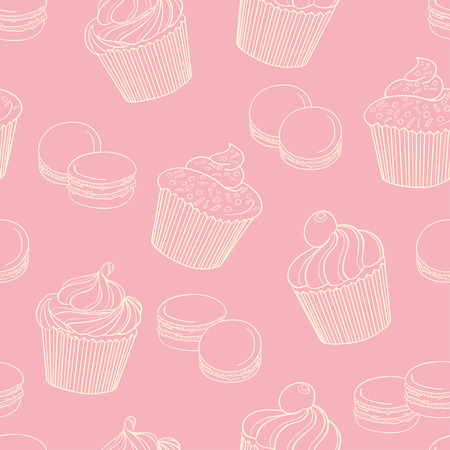 background pink: Delicious cupcakes with macaroons on pink background, seamless pattern. Can be used for wallpaper, decoration for bags and clothes. Hand-drawn contour lines and strokes. Illustration