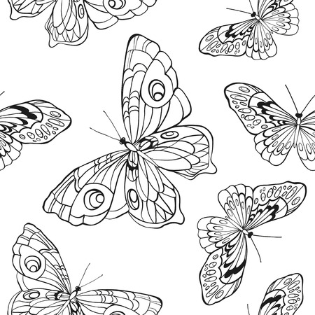 butterfly in hand: Monochrome, black and white seamless background with butterflies. Elegant elements for design, can be used for wallpaper, decoration for bags and clothes. Hand drawn contour lines and strokes.