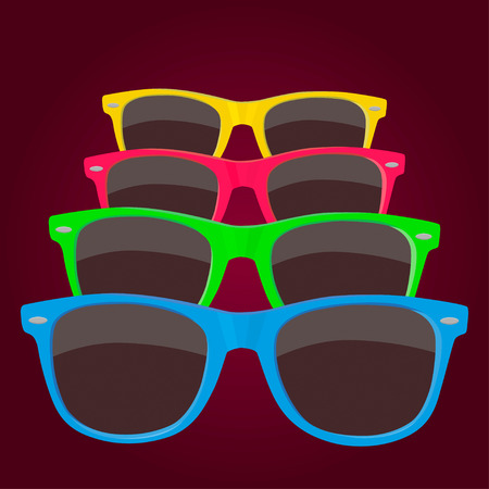 sunglasses reflection: Colorful four sunglasses on maroon background. Illustration