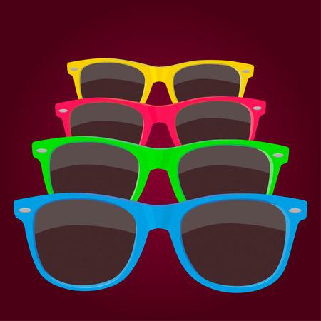 imagen: Coloridos cuatro gafas de sol en el fondo marr�n. Vectores