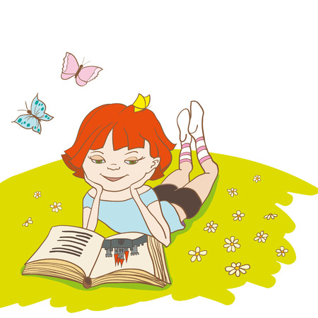 Little girl is reading a fairytale on a meadow. Hand drawn contour lines and strokes. Vector