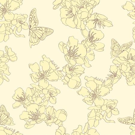 蝶や花のアプリコットのシームレスな背景は。デザインのエレガントな花の要素。バッグや服の装飾の壁紙に使用できます。手描きの輪郭線とスト  イラスト・ベクター素材