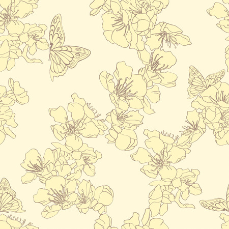 entomological: Seamless background with butterflies and blossom apricot. Elegant floral elements for design. Can be used for wallpaper, decoration for bags and clothes. Hand-drawn contour lines and strokes.