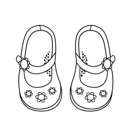 girls feet: Shoes for little girls. Hand drawn outline and stroke. It can be used for decorating of invitations, greeting cards, decoration for bags, t-shirt Illustration