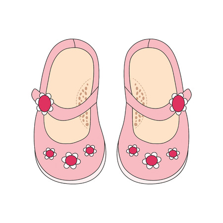 Pink shoes for little girls. Hand drawn outline and stroke. It can be used for decorating of invitations, greeting cards, decoration for bags, t-shirt