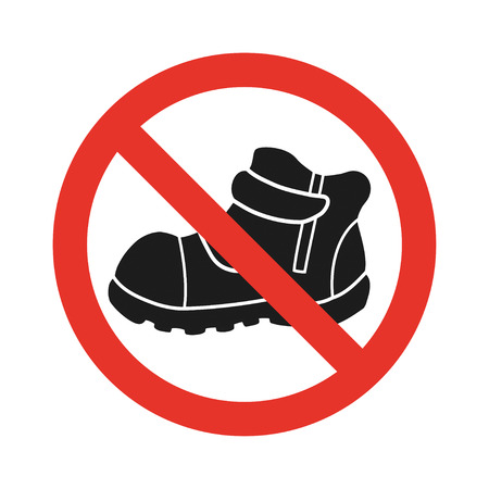centers: Do not walk in shoes sign icon.Red prohibition sign.Sticker for playgrounds in supermarkets and shopping centers.