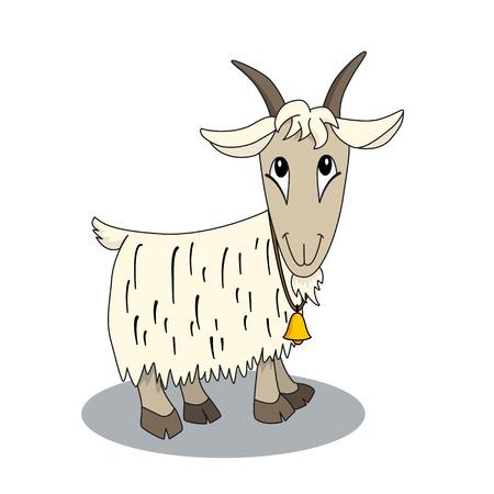cabra: Cabra de la historieta linda con la campana. Ilustración de carácter animal. Tarjeta brillante para los niños Vectores