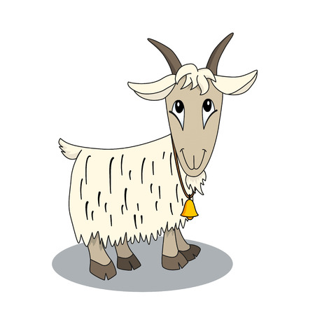 domestic goat: Cute cartoon goat with bell. Illustration of animal character. Brilliant card for children Illustration