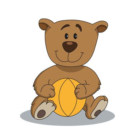 cute teddy bear: Cute teddy bear with yellow ball. Cartoon illustration of animal character. Brilliant card for children Illustration