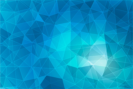 Abstract geometric blue background with triangular polygons, low poly style illustration Illustration
