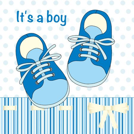 Illustration with hand drawn pair of kids shoes. It can be used for decorating of invitations, greeting cards