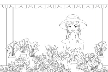 small business woman: Vector illustration of hand drawn florist girl in front of flower shop Illustration
