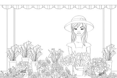 florist: Vector illustration of hand drawn florist girl in front of flower shop Illustration