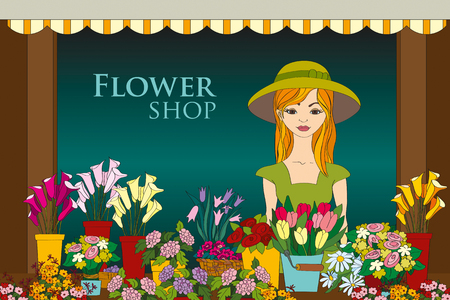 small business woman: Vector illustration of florist girl in front of flower shop